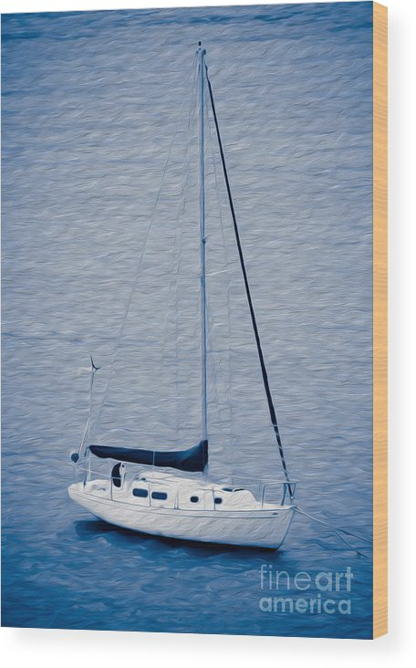 Eastern Caribbean Wood Print featuring the digital art Sailboat Adventure In St. Thomas, Usvi by Kenneth Montgomery