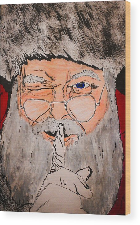 Santa Claus Wood Print featuring the drawing Shh Santa Is Here by Zech Browning