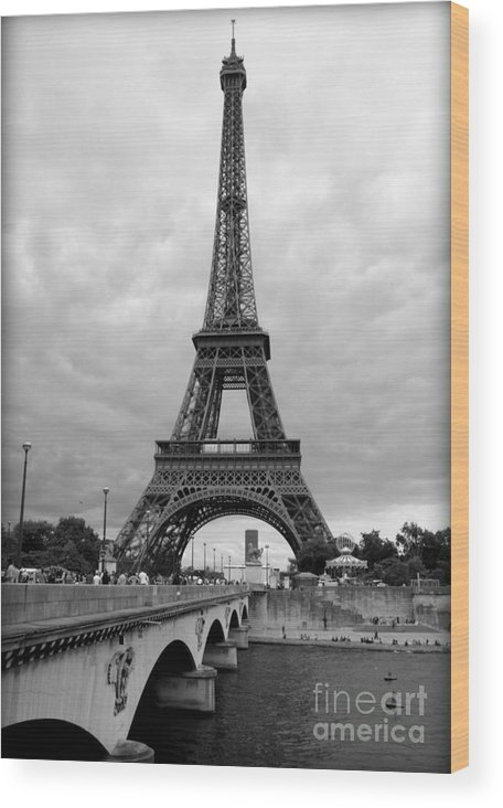 Architecture Wood Print featuring the photograph Summer Storm Over The Eiffel Tower by Carol Groenen