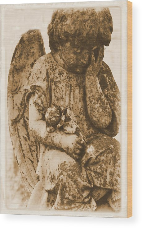 Angel Wood Print featuring the photograph The Angel Virginia by Nadalyn Larsen
