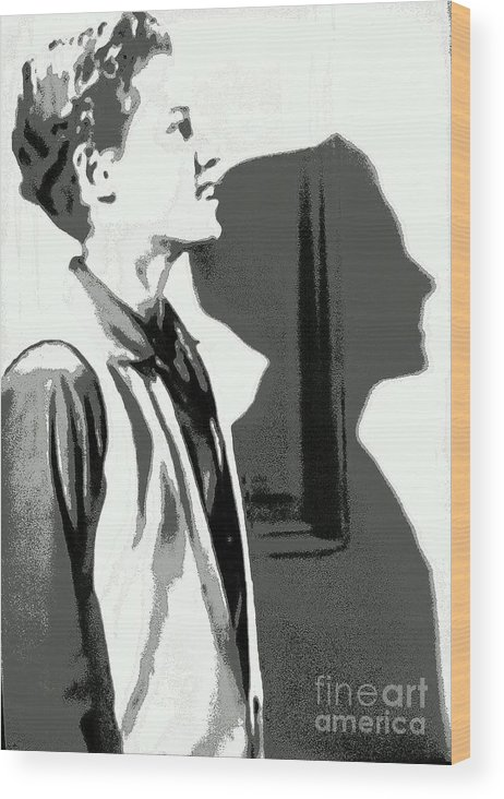 Ken Osmond Wood Print featuring the digital art The Shadow Of Your Obsequious Smile by William Gruendler