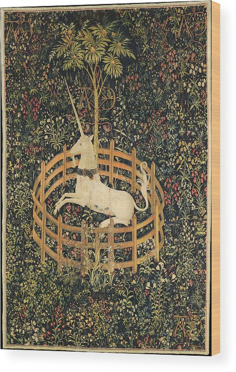 Mythology Wood Print featuring the tapestry - textile The Unicorn In Captivity by Unknown