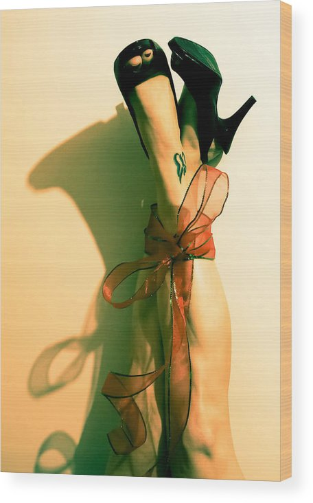 Ribbon Wood Print featuring the photograph Tied Up by Melissa Leda