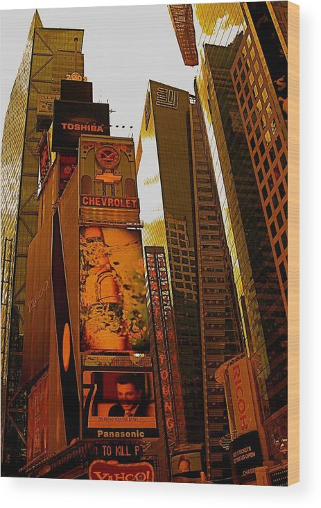 Manhattan Posters And Prints Wood Print featuring the photograph Times Square In Manhattan by Monique's Fine Art