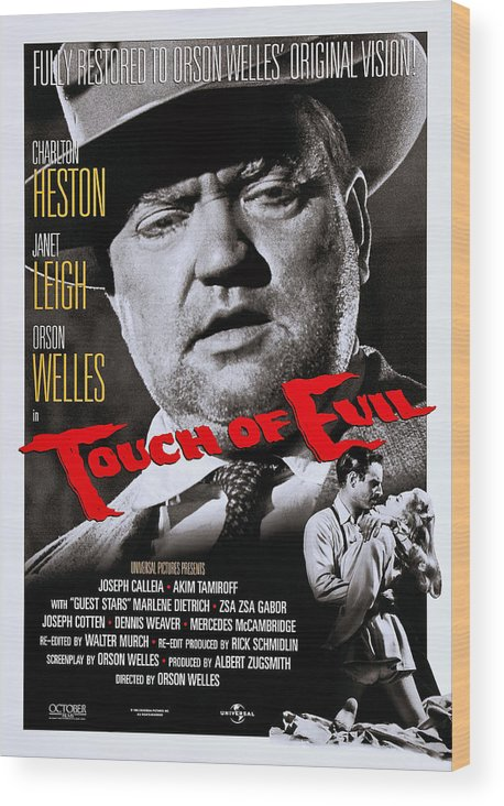 1950s Poster Art Wood Print featuring the photograph Touch Of Evil, Us Poster Art, Top Orson by Everett