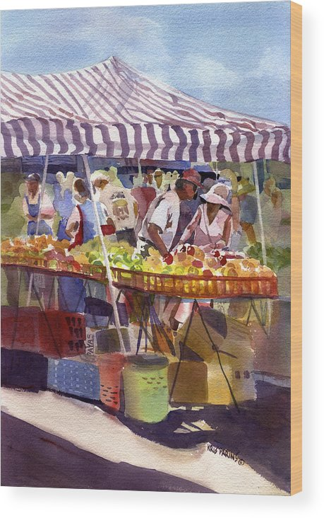 Kris Parins Wood Print featuring the painting Under The Awning by Kris Parins