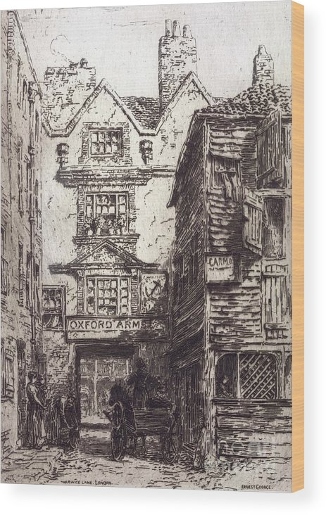 Warwick Lane Wood Print featuring the photograph Warwick Lane, London, 19th Century by British Library