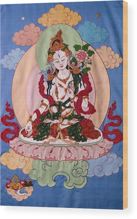 Longevity Wood Print featuring the tapestry - textile White Tara by Leslie Rinchen-Wongmo