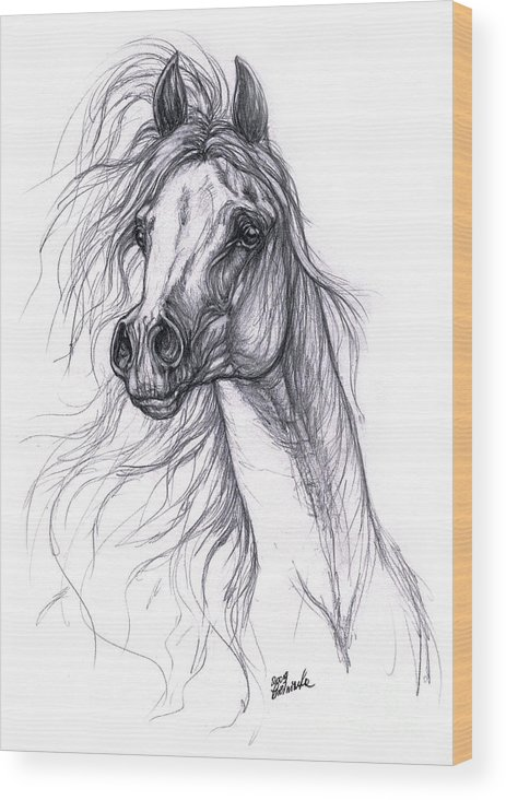 Horse Wood Print featuring the drawing Wind In The Mane 2 by Angel Ciesniarska