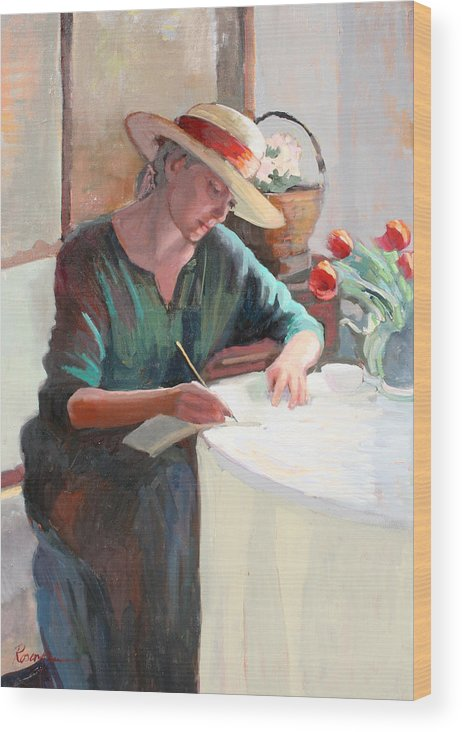 Woman Writing Wood Print featuring the painting Woman Writing by Sally Rosenbaum