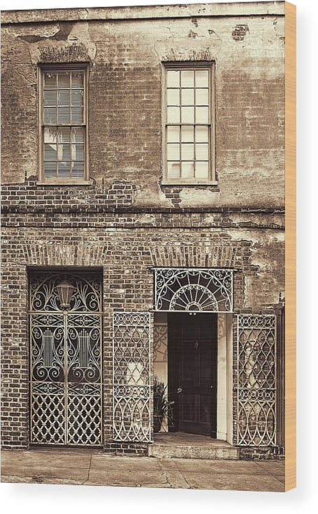 Architecture Wood Print featuring the photograph Wrought Iron Gates by Marcia Colelli