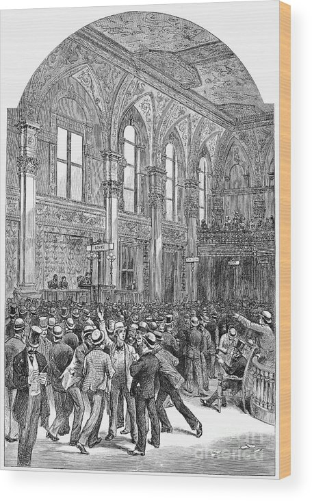 1881 Wood Print featuring the photograph New York Stock Exchange by Granger