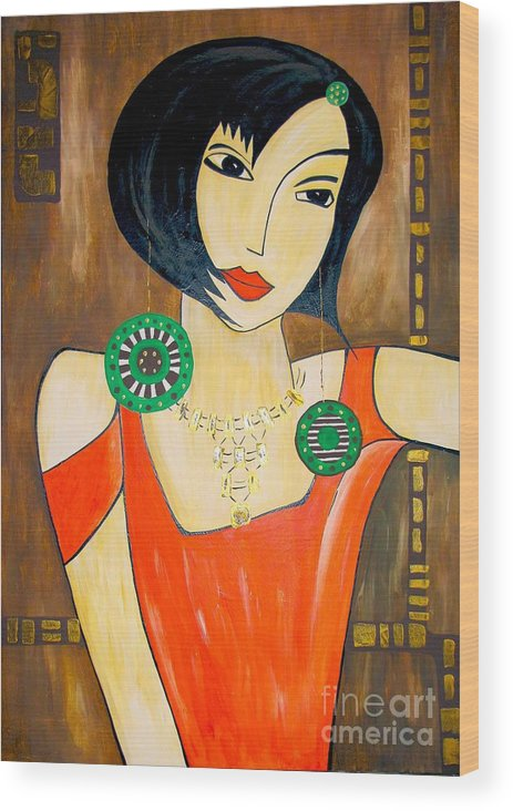 Graphics Wood Print featuring the painting Women 447 - Marucii by Marek Lutek