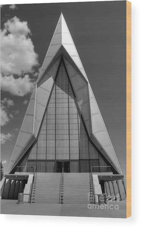 Air Force Academy Wood Print featuring the photograph Air Force Academy Chapel 1 by David Bearden