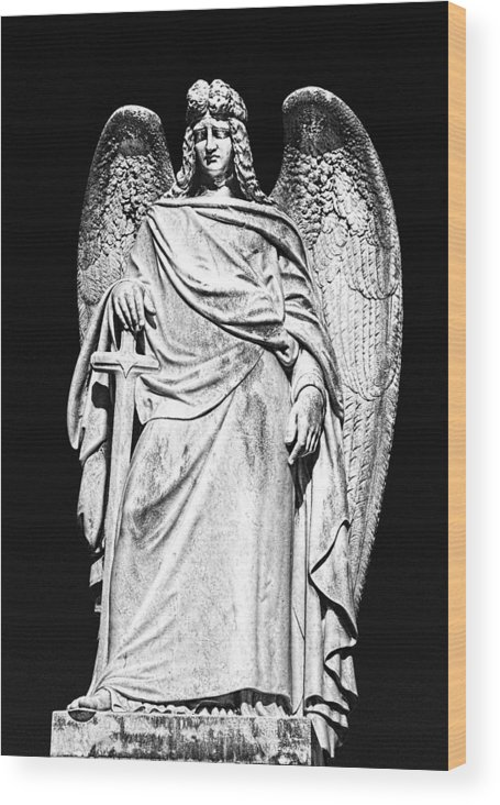 Angel Wood Print featuring the photograph Archangel By Night by Georgiana Romanovna