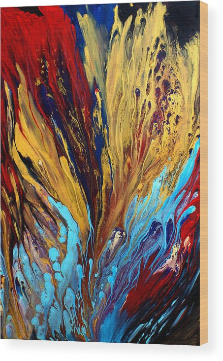 Abstract Canvas Prints Paintings Wood Print featuring the painting Arriving At The Precipice by Nandita Albright
