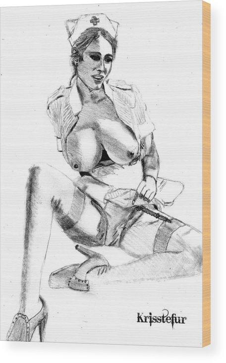 Nurse Wood Print featuring the drawing Busty Nurse by Kriss Tefur