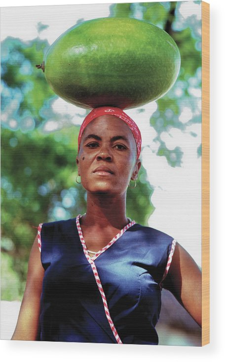 Haiti Wood Print featuring the photograph Lady With Calbace On Head by Johnny Sandaire