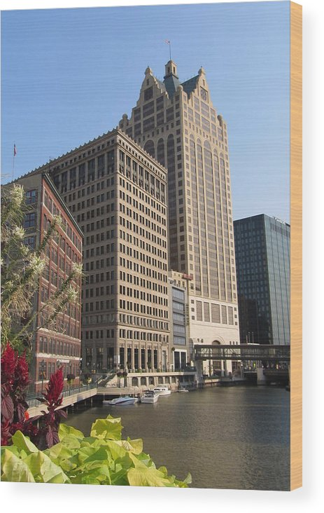 Milwaukee Wood Print featuring the photograph Milwaukee River And Skywalk by Anita Burgermeister