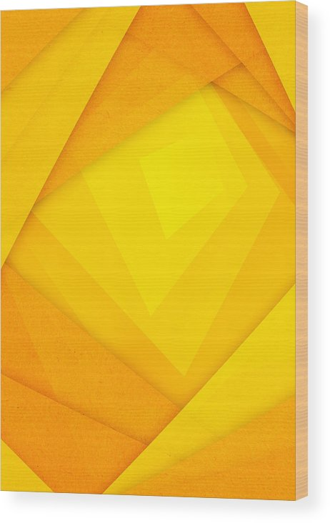 Abstract Wood Print featuring the digital art Orange And Yellow Abstract Paper Background by Nattapon Wongwean