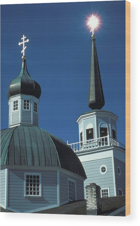 Russian Orthodox Wood Print featuring the photograph Russian Orthodox Church by Carl Purcell