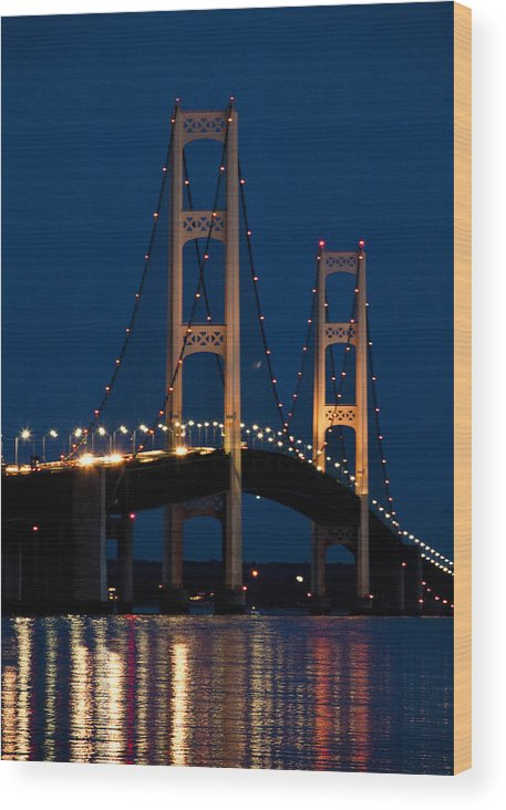 Art Wood Print featuring the photograph The Mackinaw Bridge At Night By The Straits Of Mackinac by Randall Nyhof