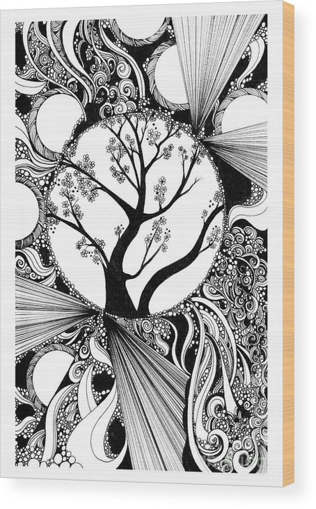 Tree Wood Print featuring the drawing Tree Doodle 58 by Danielle Scott