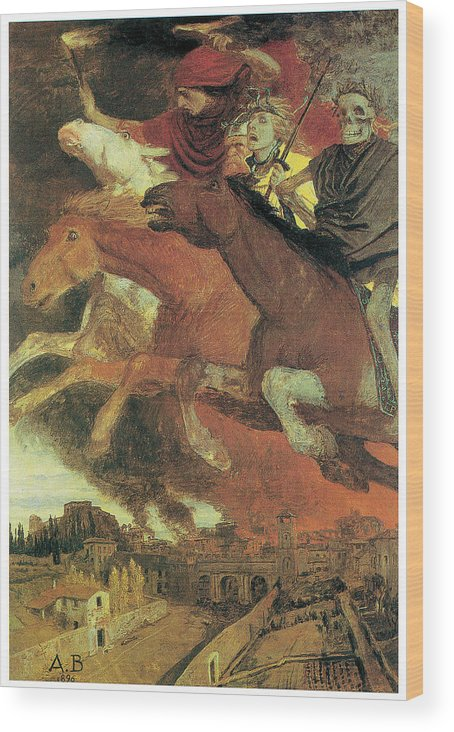 Arnold Bocklin Wood Print featuring the painting War by Arnold Bocklin
