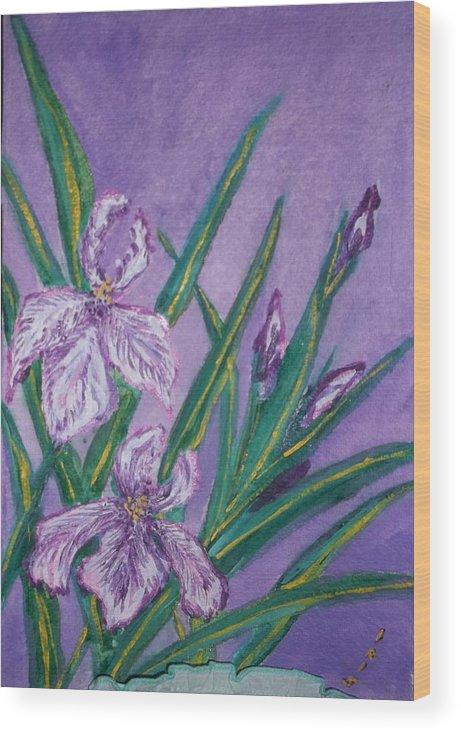 Eternally Beautiful Flowers Wood Print featuring the painting White And Mauve  Irises by Iris Devadason