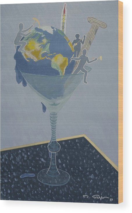 Earth Wood Print featuring the painting ... And Who Will Pay The Bill by Ingrid Stiehler