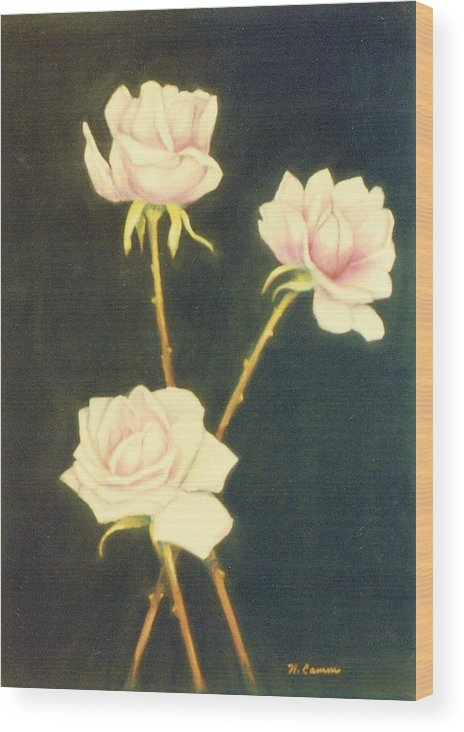 Roses Wood Print featuring the painting Roses In Full Bloom by Nancy Camm