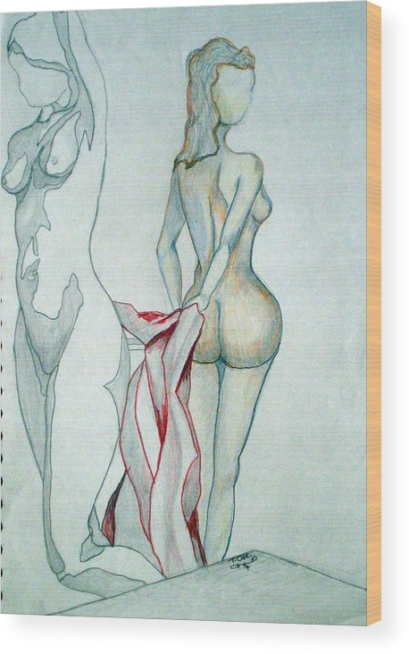 Nudes Wood Print featuring the drawing 2 Women And A Blanket by Tammera Malicki-Wong