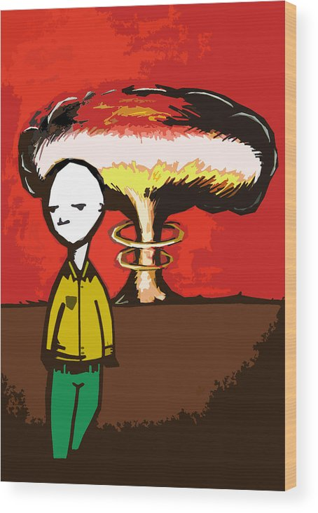 Abstract/graphic Art Wood Print featuring the painting Boom by Jeff DOttavio