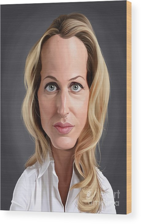 Illustration Wood Print featuring the digital art Celebrity Sunday - Gillian Anderson by Rob Snow