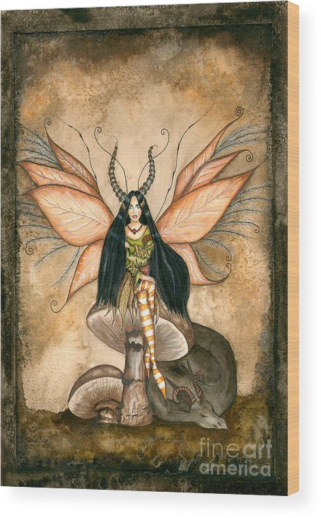 Faery Wood Print featuring the painting Earth Faery by Alysa Fioretzi