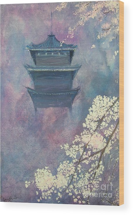 Landscape Japan Wood Print featuring the painting Japanese Spring Scene by Lizzy Forrester