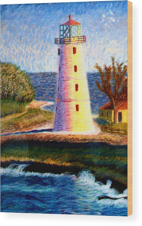 Lighthouse Wood Print featuring the painting Lighthouse by Stan Hamilton