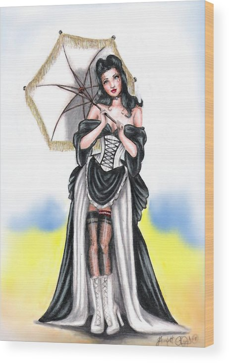 Pin-up Wood Print featuring the drawing Miss Flirt by Scarlett Royal