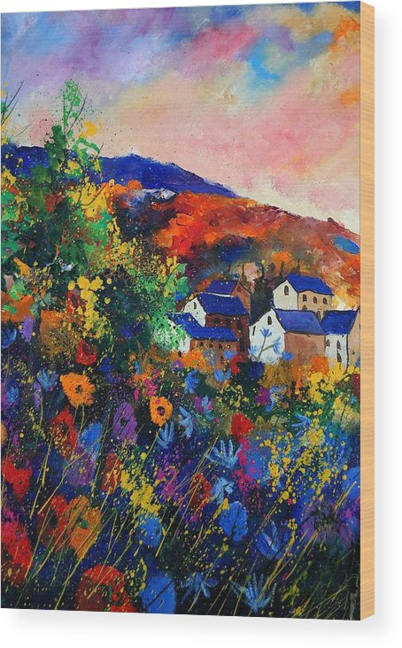 Landscape Wood Print featuring the painting Summer by Pol Ledent