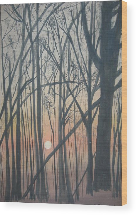 Trees Wood Print featuring the painting The Pines From The Treehouse by Sheryl Sutherland
