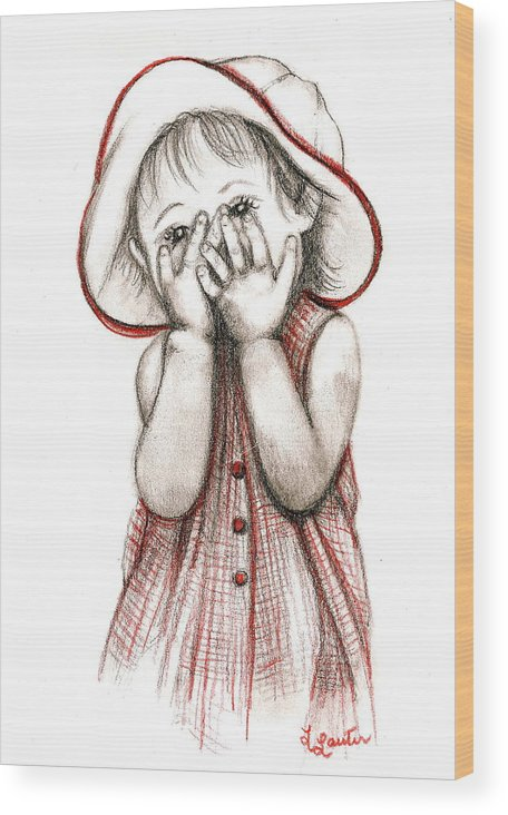 Child Portraits Wood Print featuring the drawing Peek A Boo by L Lauter