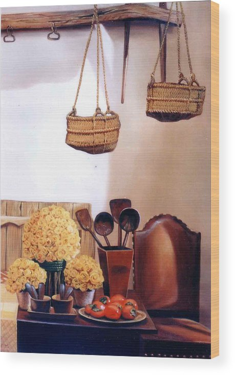 Oil Wood Print featuring the painting Still Life by Chonkhet Phanwichien