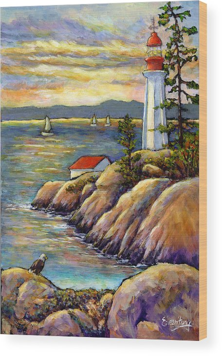 Lighthouse Wood Print featuring the painting A Moment By The Sea by Eileen Fong