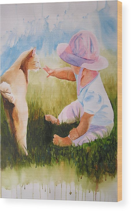Baby Wood Print featuring the painting Abbie's Kitty by Karen Stark