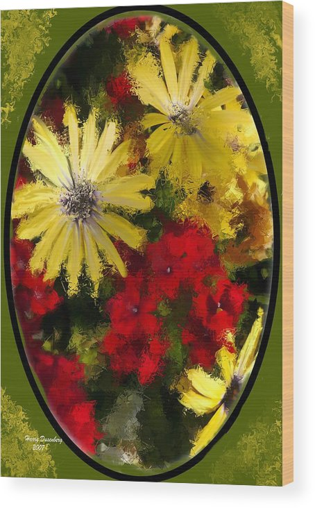 Flowers Wood Print featuring the painting Abstract Flowers 2 by Harry Dusenberg