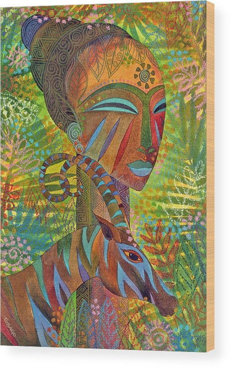 Exotic Jungle African Mask Tropical Antelope Wood Print featuring the painting African Queens by Jennifer Baird