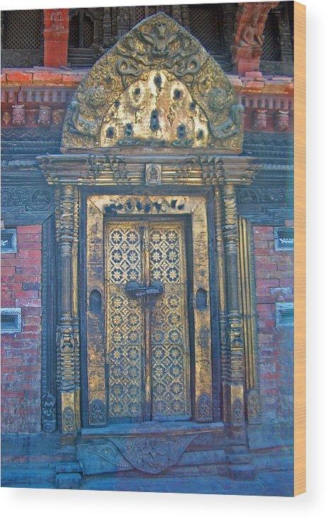 Nepal.golden Doors Wood Print featuring the photograph Ancient Door In Katmandu Nepal by Dorota Nowak