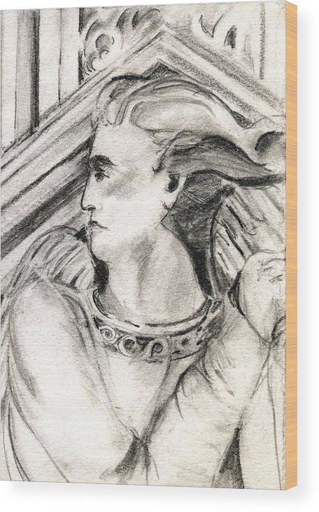 Drawing Wood Print featuring the drawing Angel Of Orieveto Italy by Mindy Newman