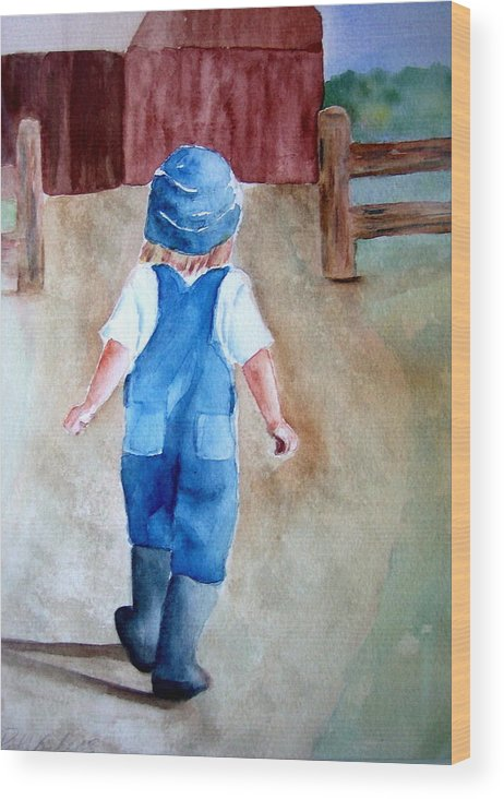 Farm Child Girl Landscape Farmgirl Barn Wood Print featuring the painting At The Farm by Pat Vickers