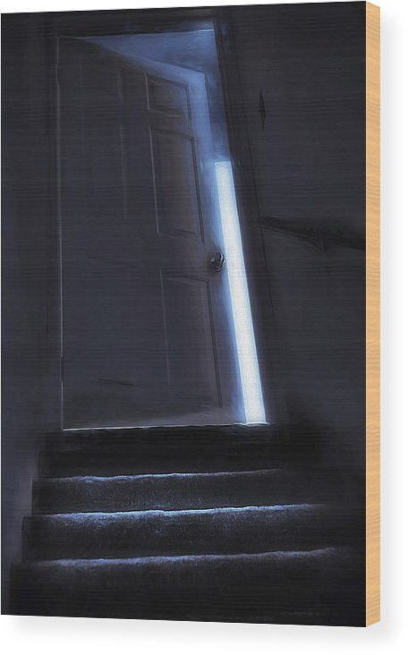 Stair Wood Print featuring the photograph At The Top Of The Stairs by Steve Ohlsen